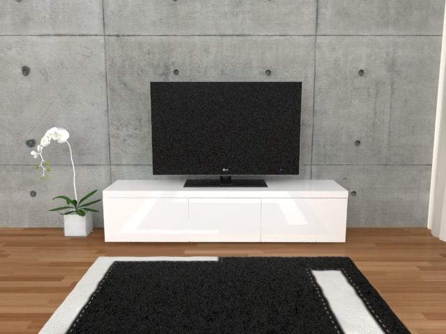 Szafka RTV Monte Carlo biały/biały wysoki połysk