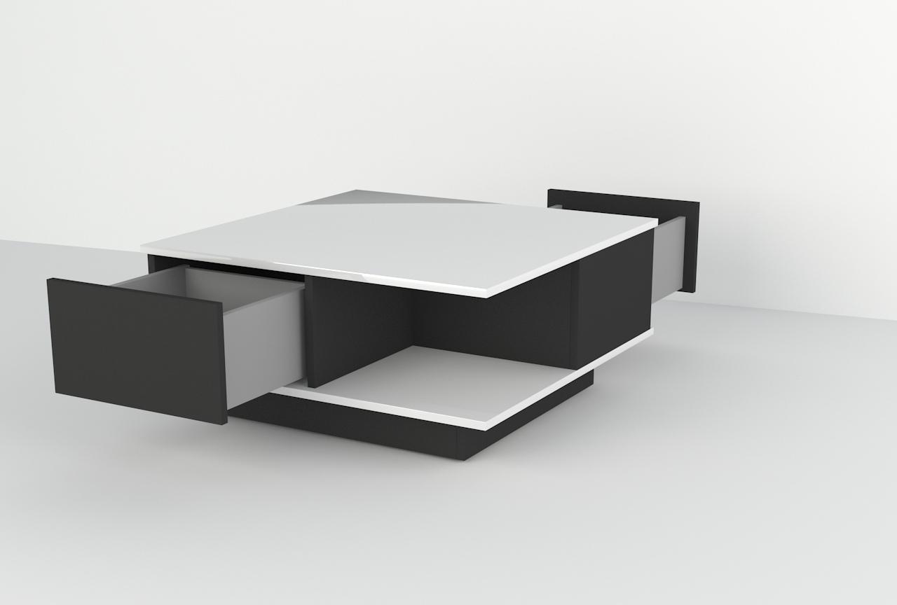 stolik, ława, połysk, czarny, biały, meble do salonu