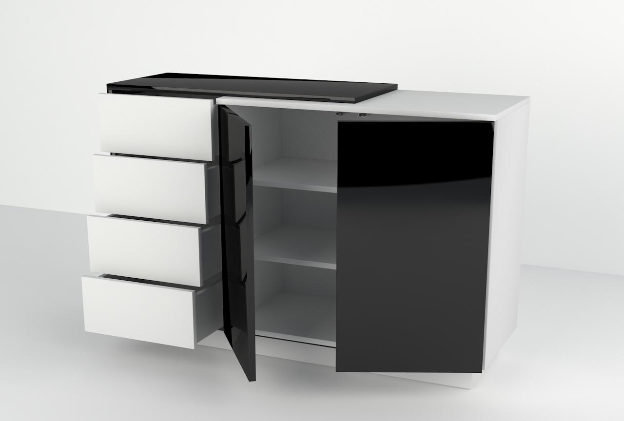 komoda z szufladami, meble do salonu, nowoczesny wygląd, wisząca, stojąca