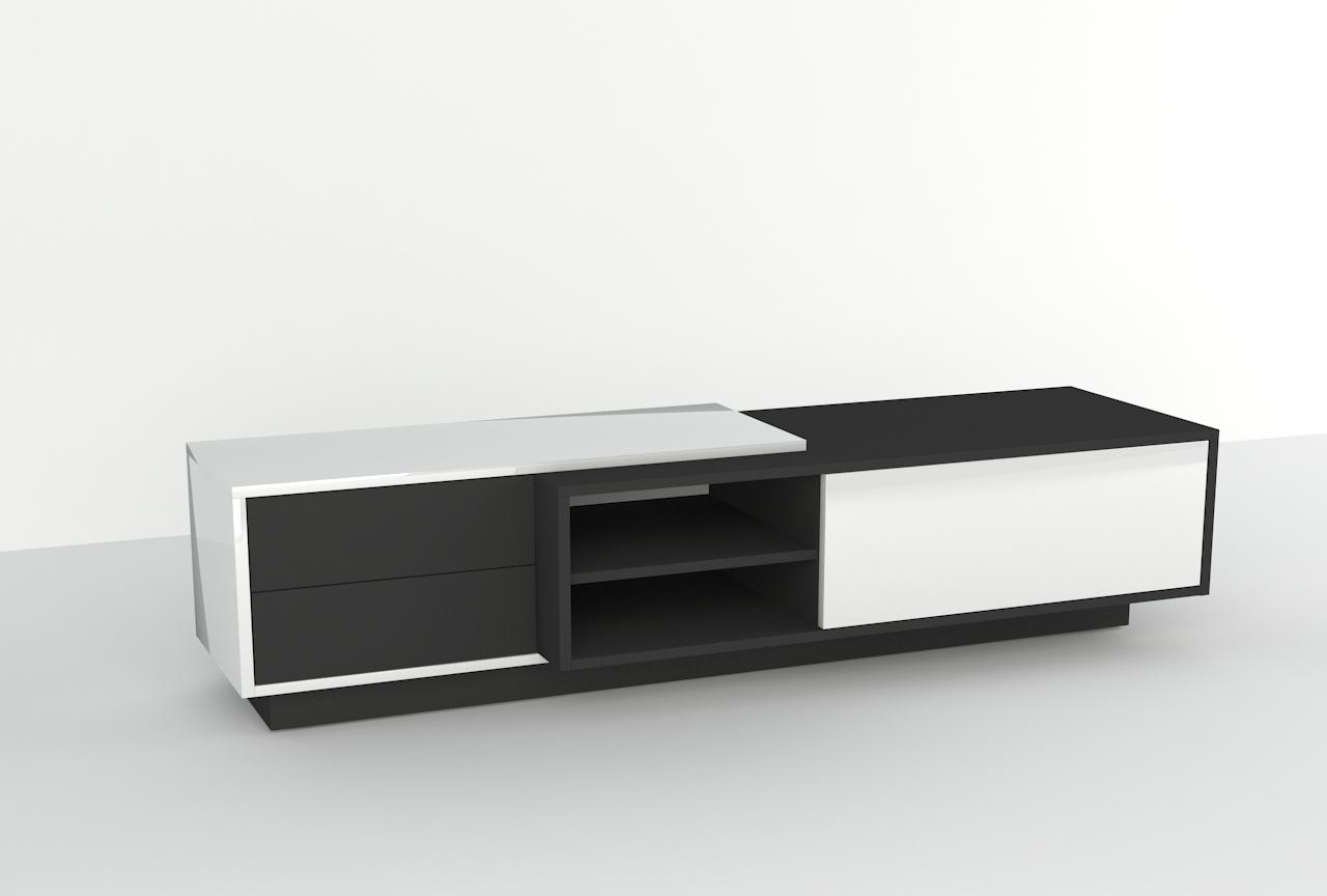 Mebel tv, szuflady, drzwi otwierane do dołu, otwieranie na dotyk.