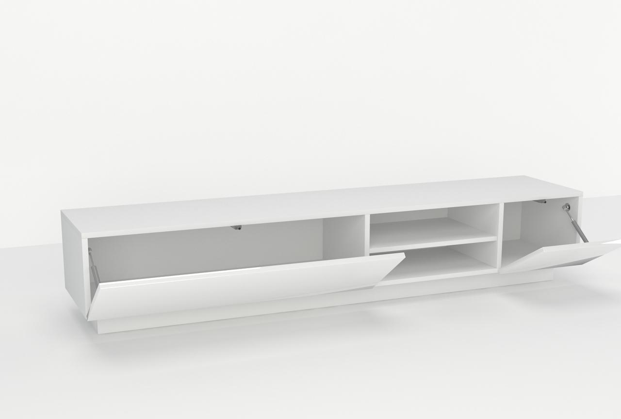 stolik tv, z półką, wiszący, wysoki połysk, meble tv