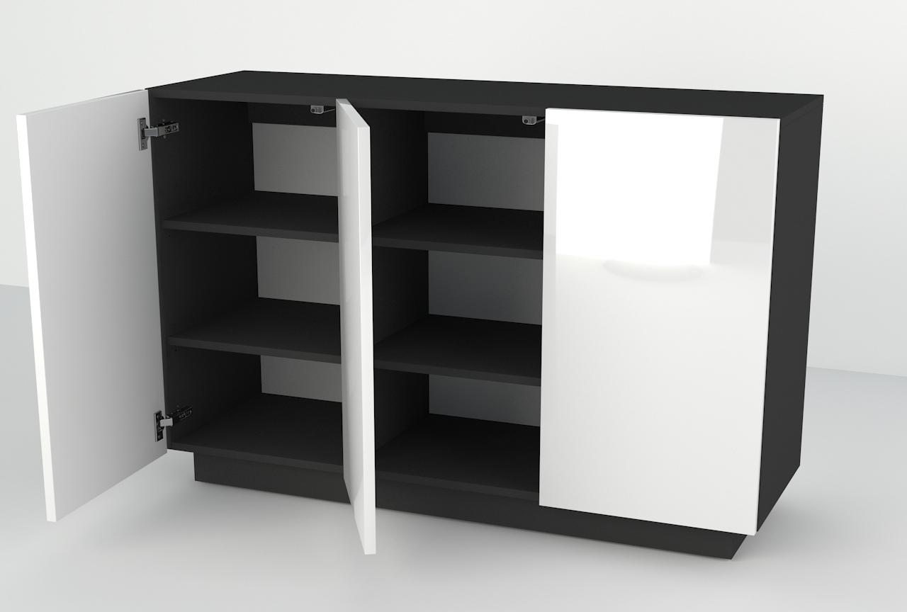 biały wysoki połysk, czarny mat, wisząca komoda, stojąca komoda, duża szafka