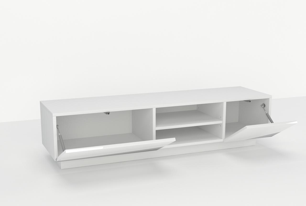 meble mieszkaniowe, biały, połysk, półka rtv, wisząca