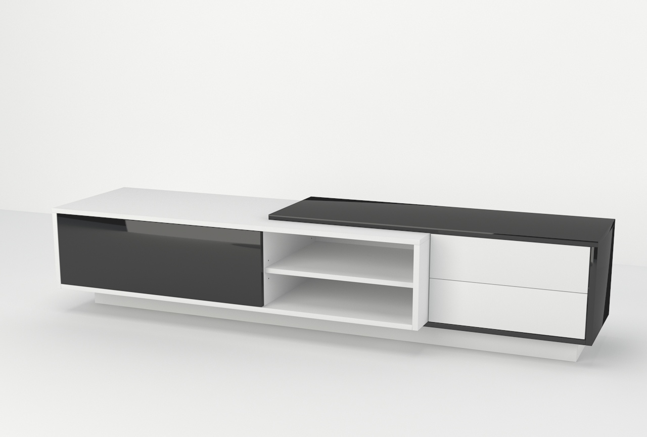 wisząca szafka pod telewizor, stojąca szafka pod tv, czarno biała szafka, czarny połysk