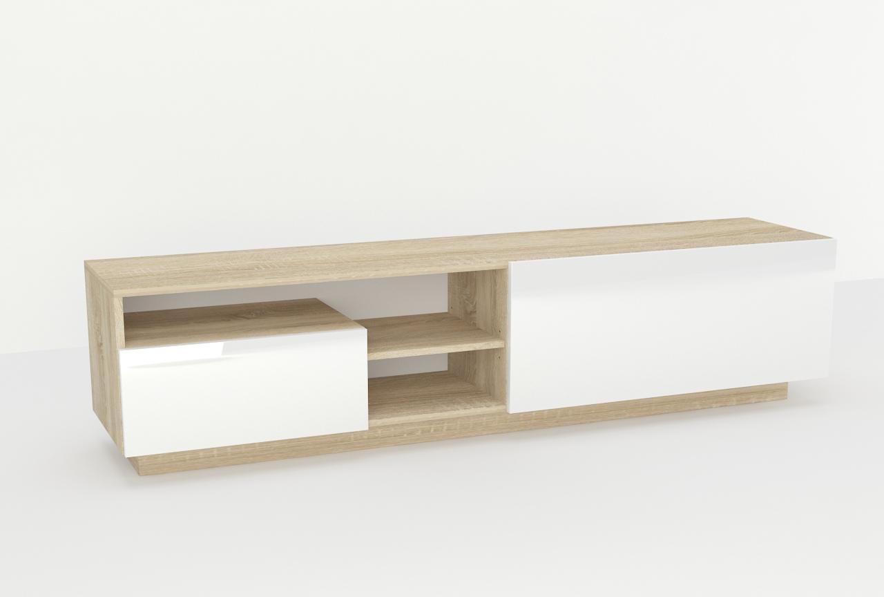 styl nowoczesny, szafka, pod telewizor, biały, dąb, półki