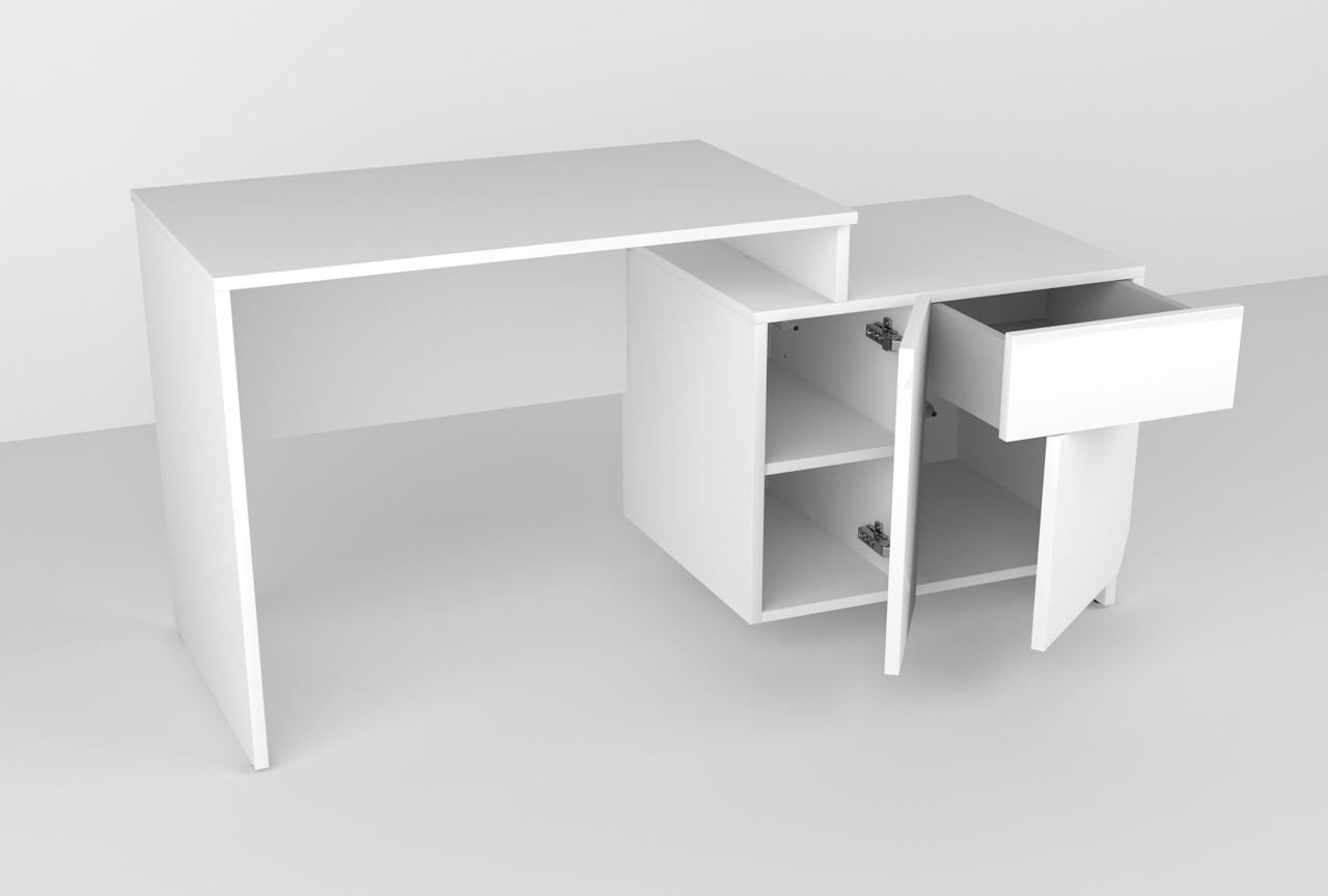 białe biurko, biurko szkolne, biurko do biura, biurko na komputer, biurko z miejscem na drukarkę, wysoki połysk