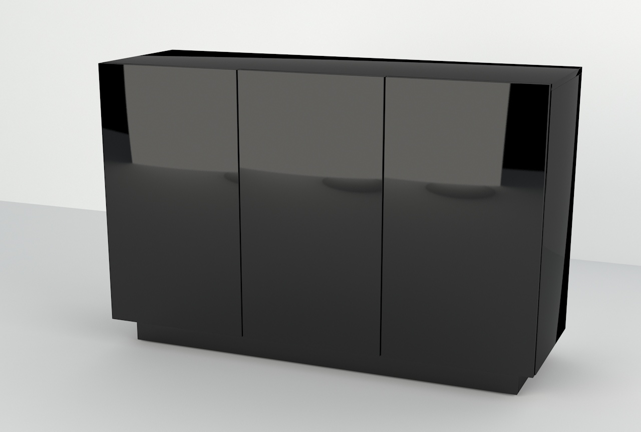 Nowoczesna komoda Galicja 3d, Czarny wysoki połysk, PREMIUM.