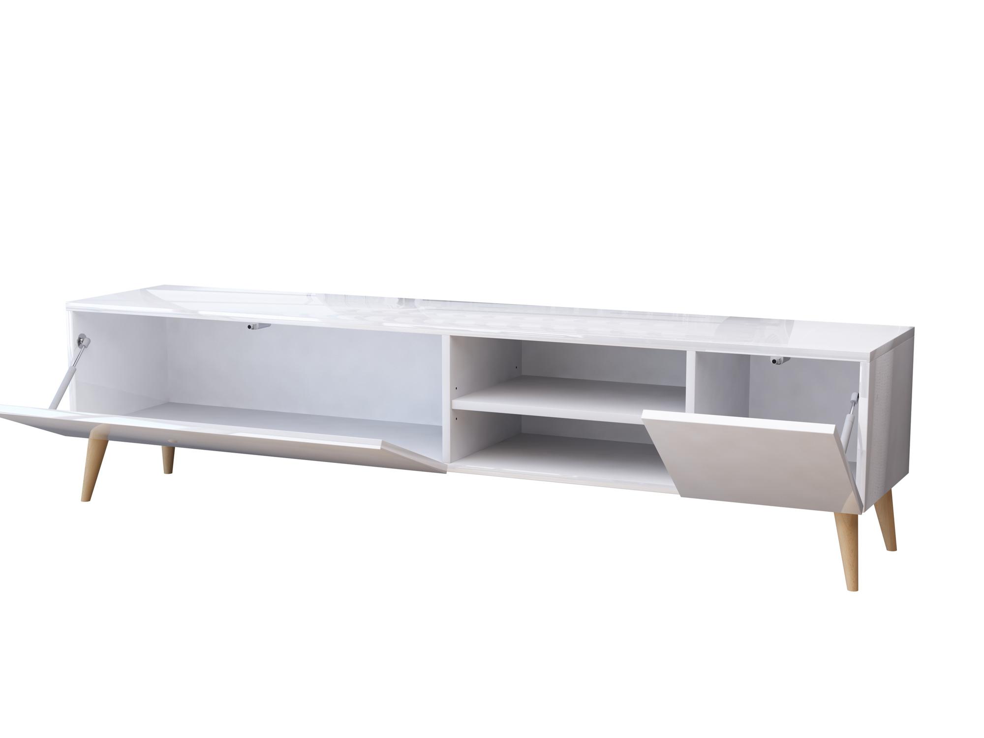 szafka pod telewizor, drewniane nóżki, styl skandynawski