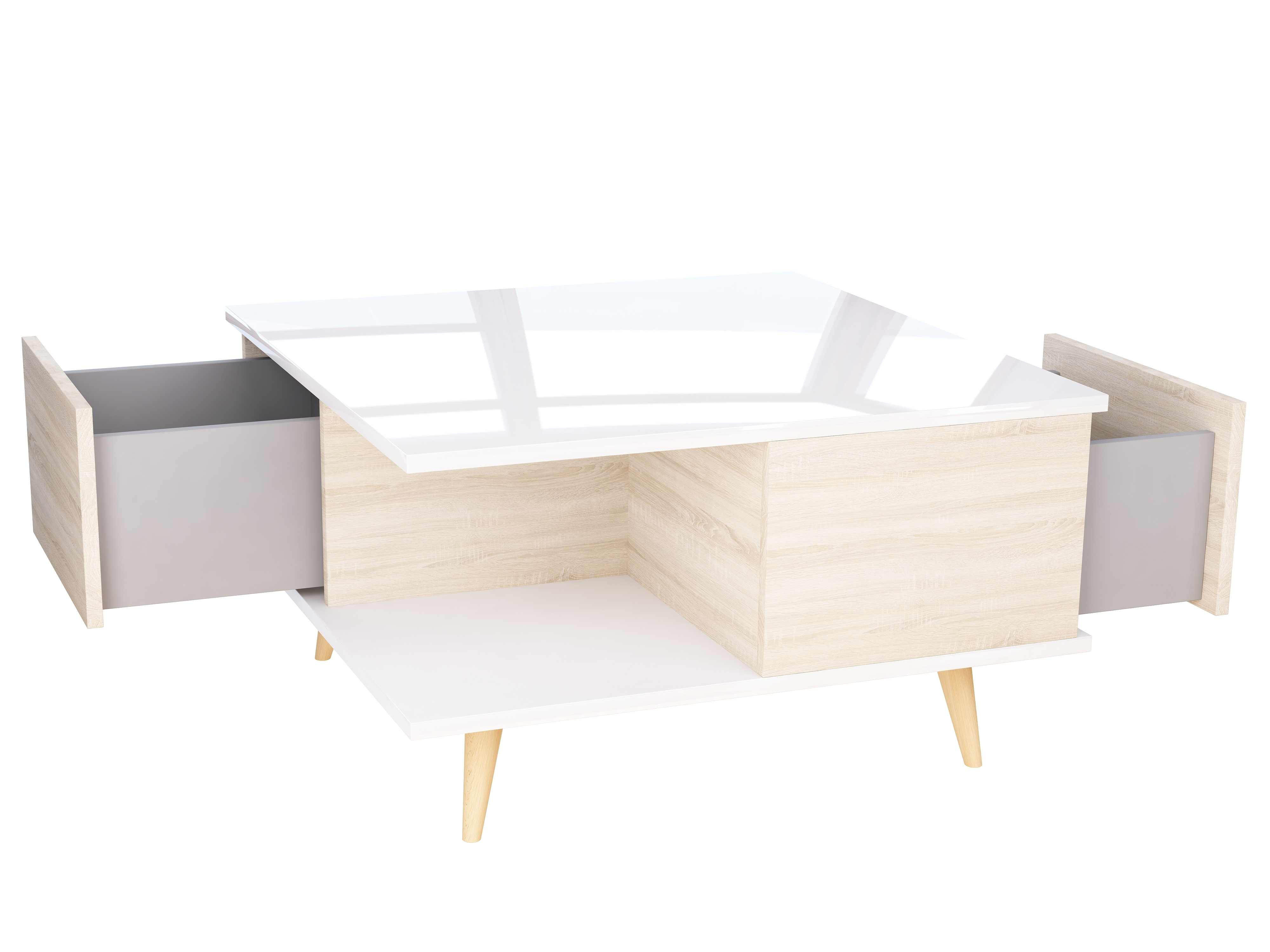 Stolik do salonu, mebel w stylu skandynawskim, nogi z litego drewna.