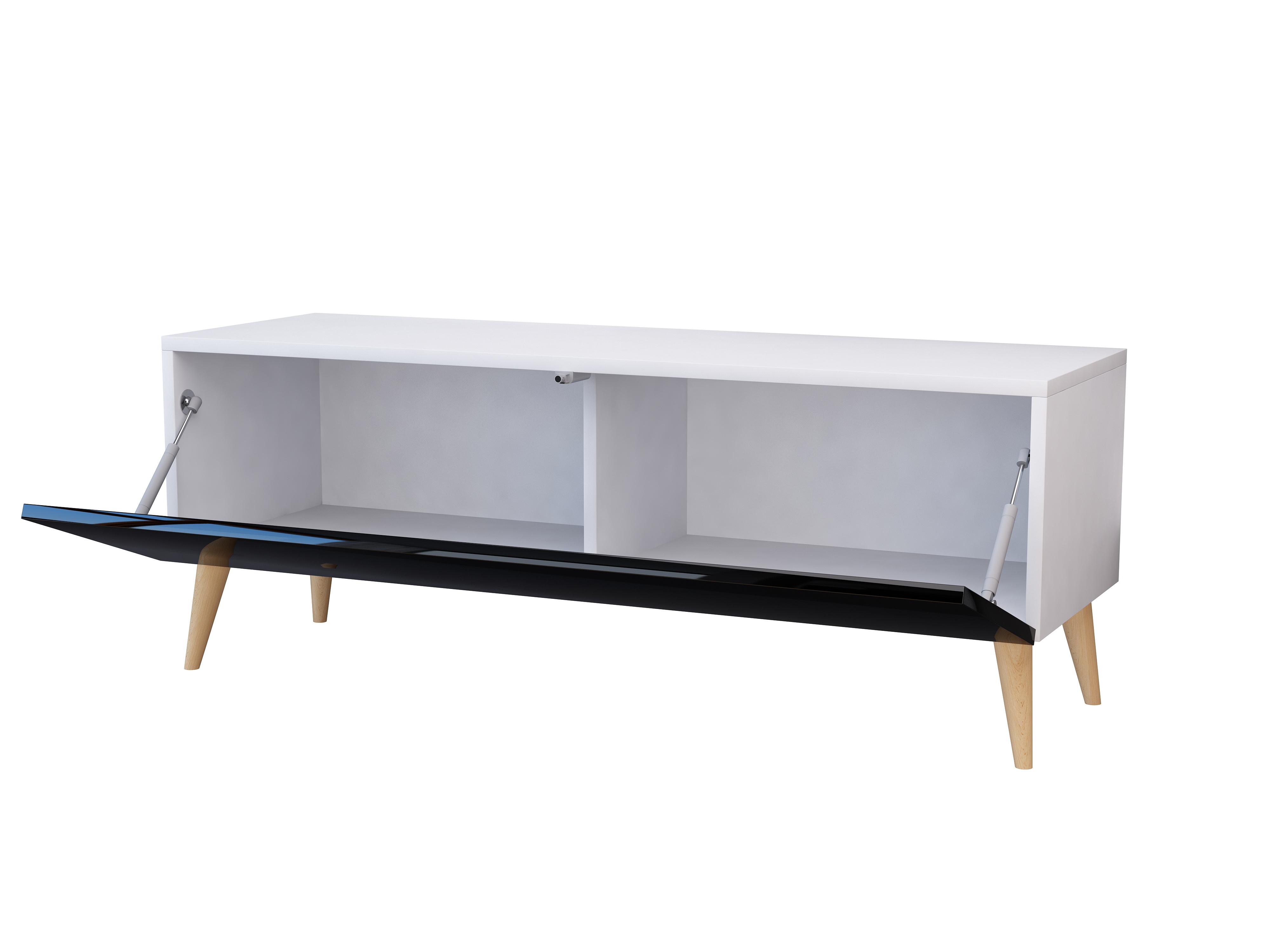 Mebel, drewno, czarny połysk, biały mat, szafka pod tv.