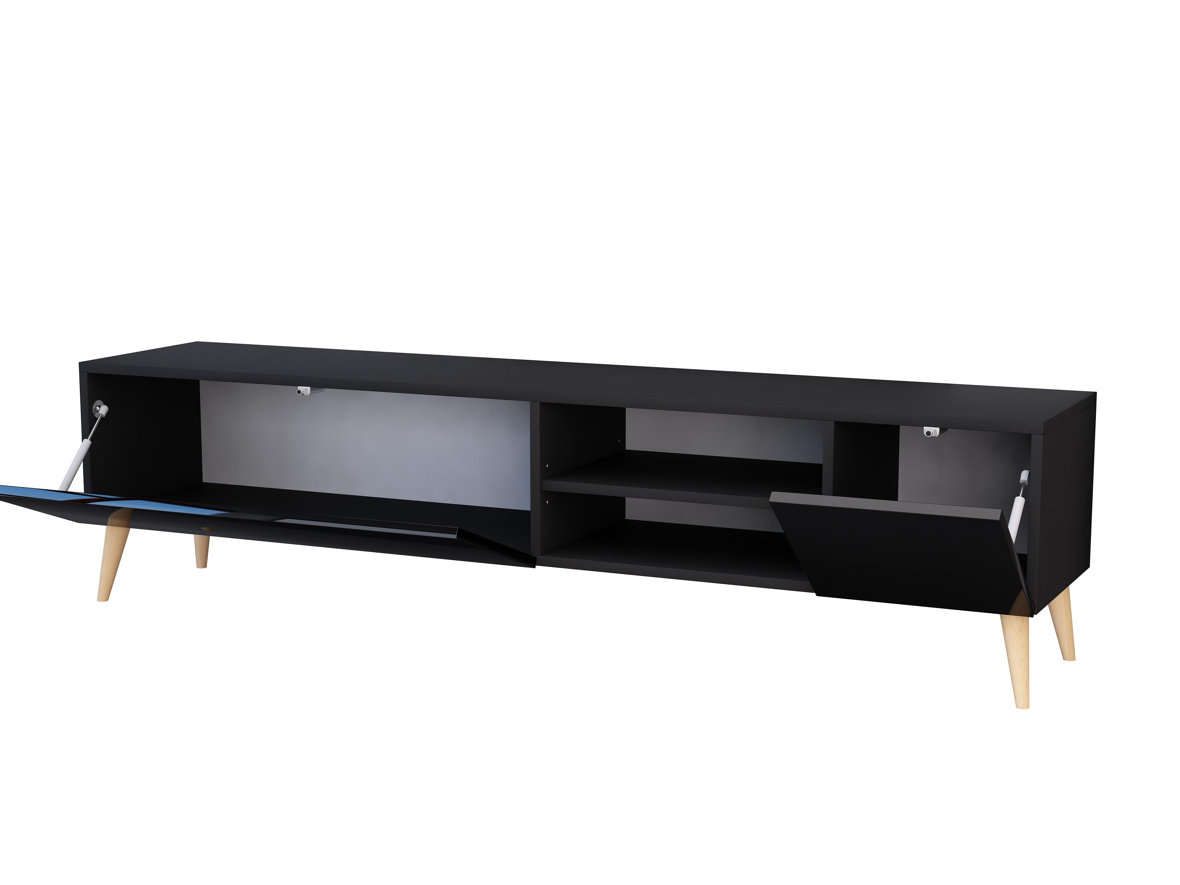 Szafka rtv Scandi Galicja2, 180cm, czarna