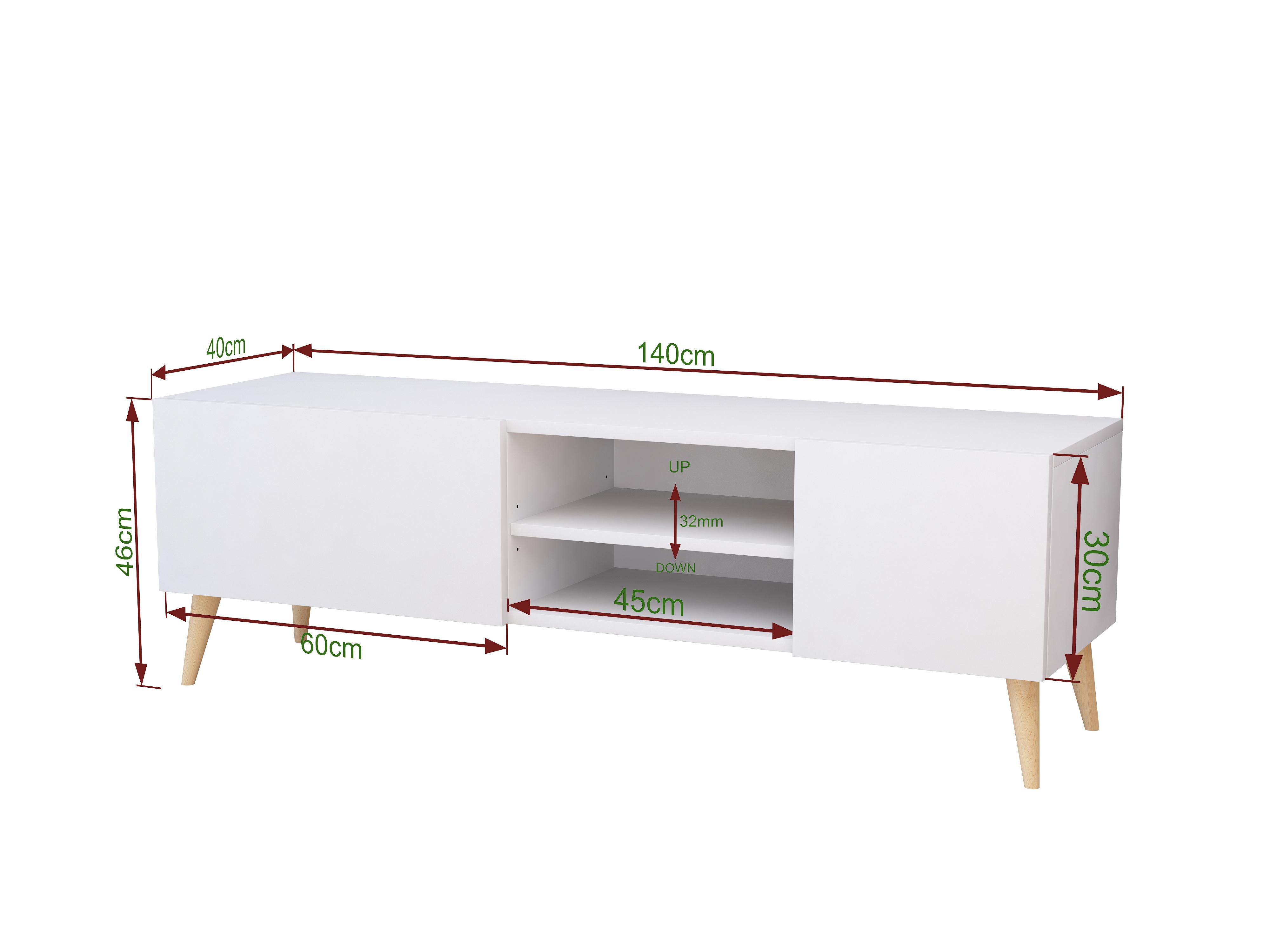 Szafka rtv Scandi Galicja2, 140cm biały mat