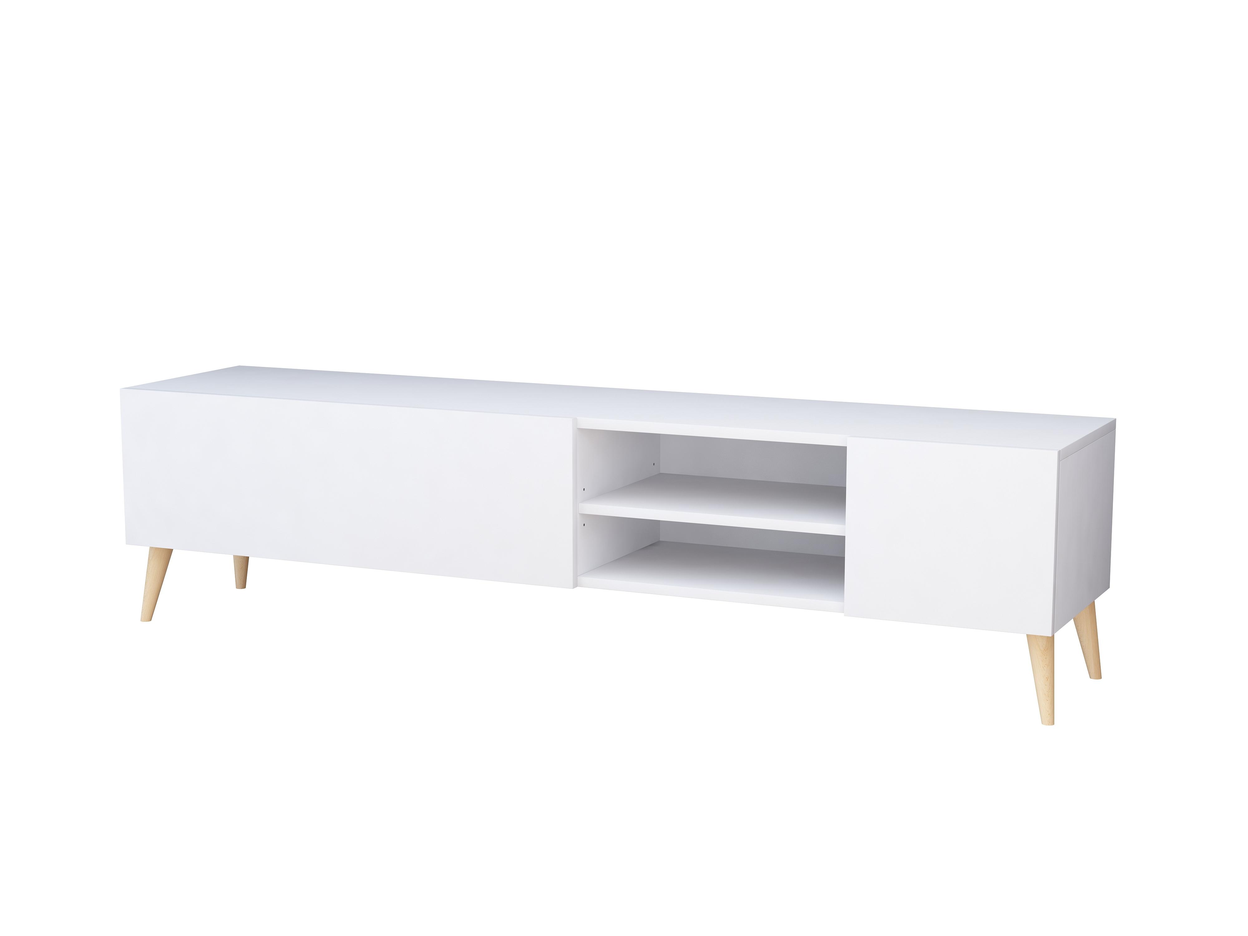 szafka rtv, pod telewizor, biały mat, styl skandynawski, wnętrza industrialne.