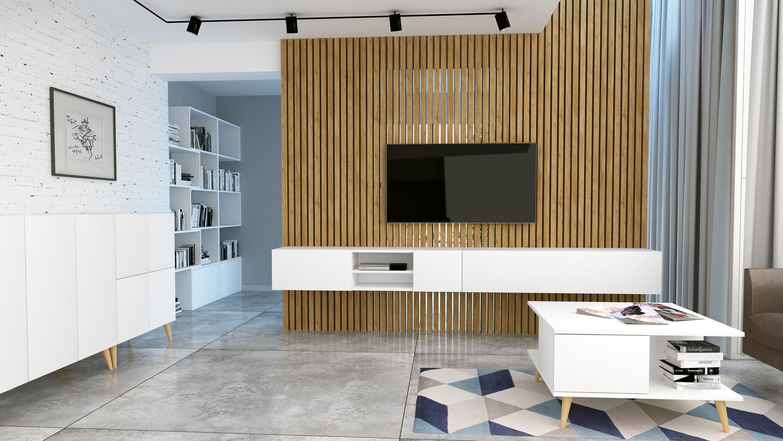 Szafka rtv Galicja3 1D, Biały mat,  design.