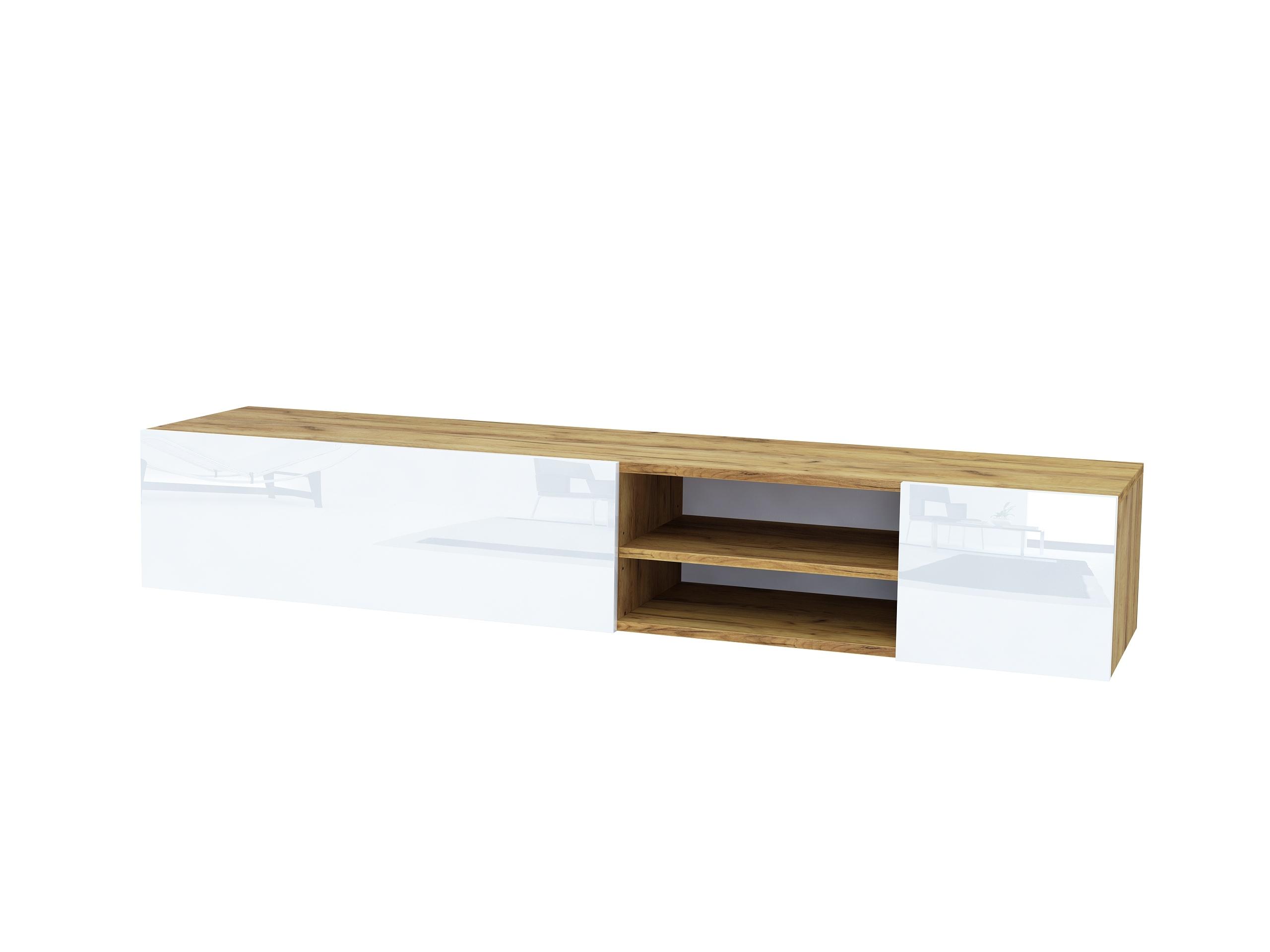 dąb złoty, dąb craft złoty, biały wysoki połysk, wisząca szafka rtv, stojąca szafka tv