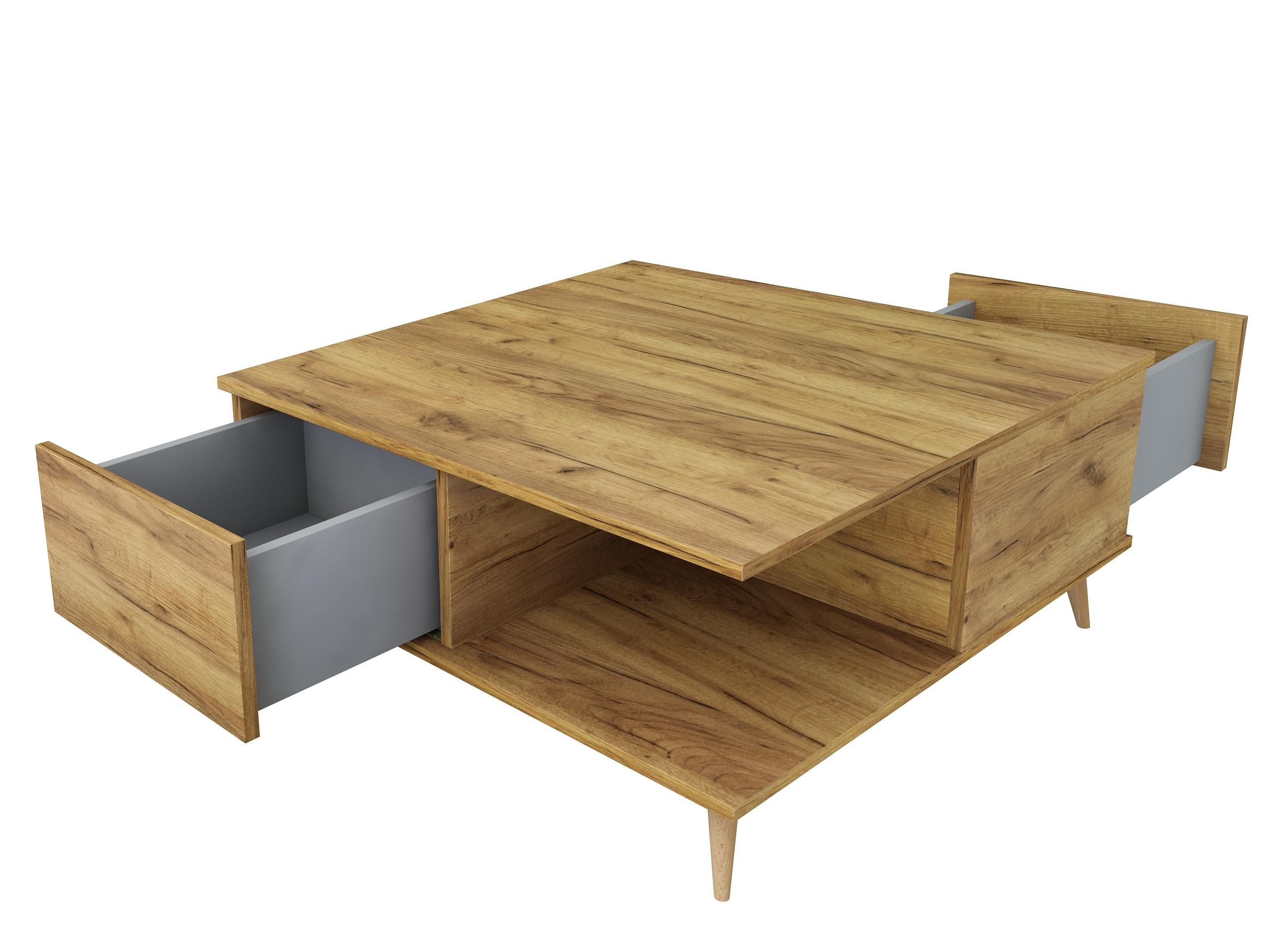 dąb craft złoty, stolik z szufladami, drewniane nóżki, ława w kolorze drewna