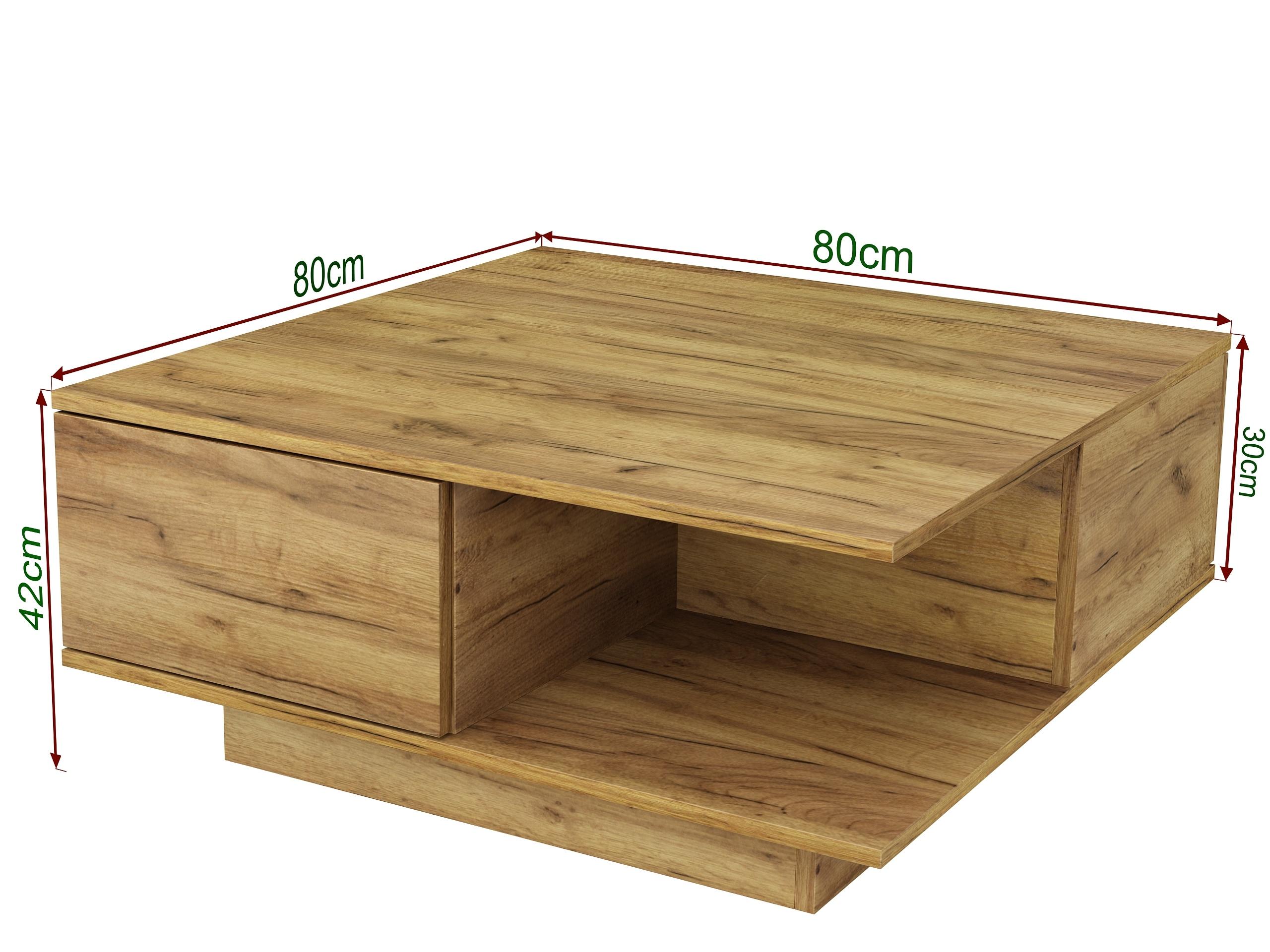 dąb craft złoty, dąb złoty, nowoczesny stolik, szuflady, styl industrialny