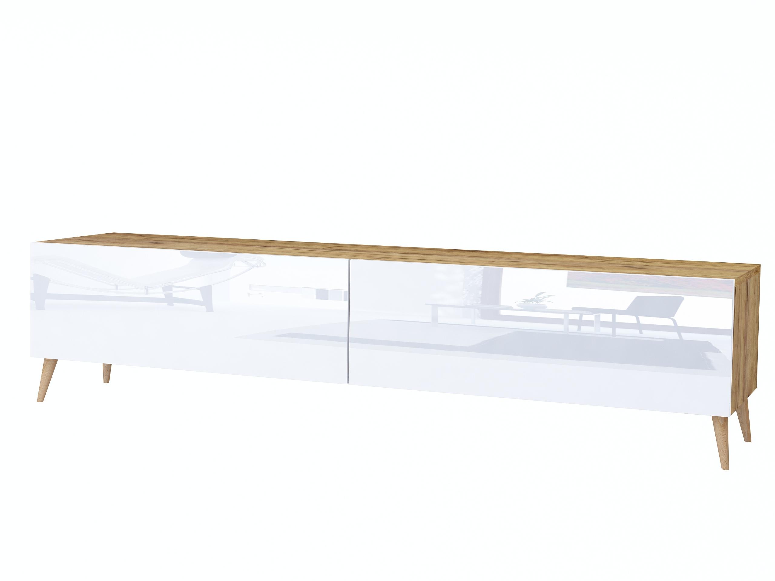Szafka rtv Scandi Galicja, dąb złoty i biały wysoki połysk