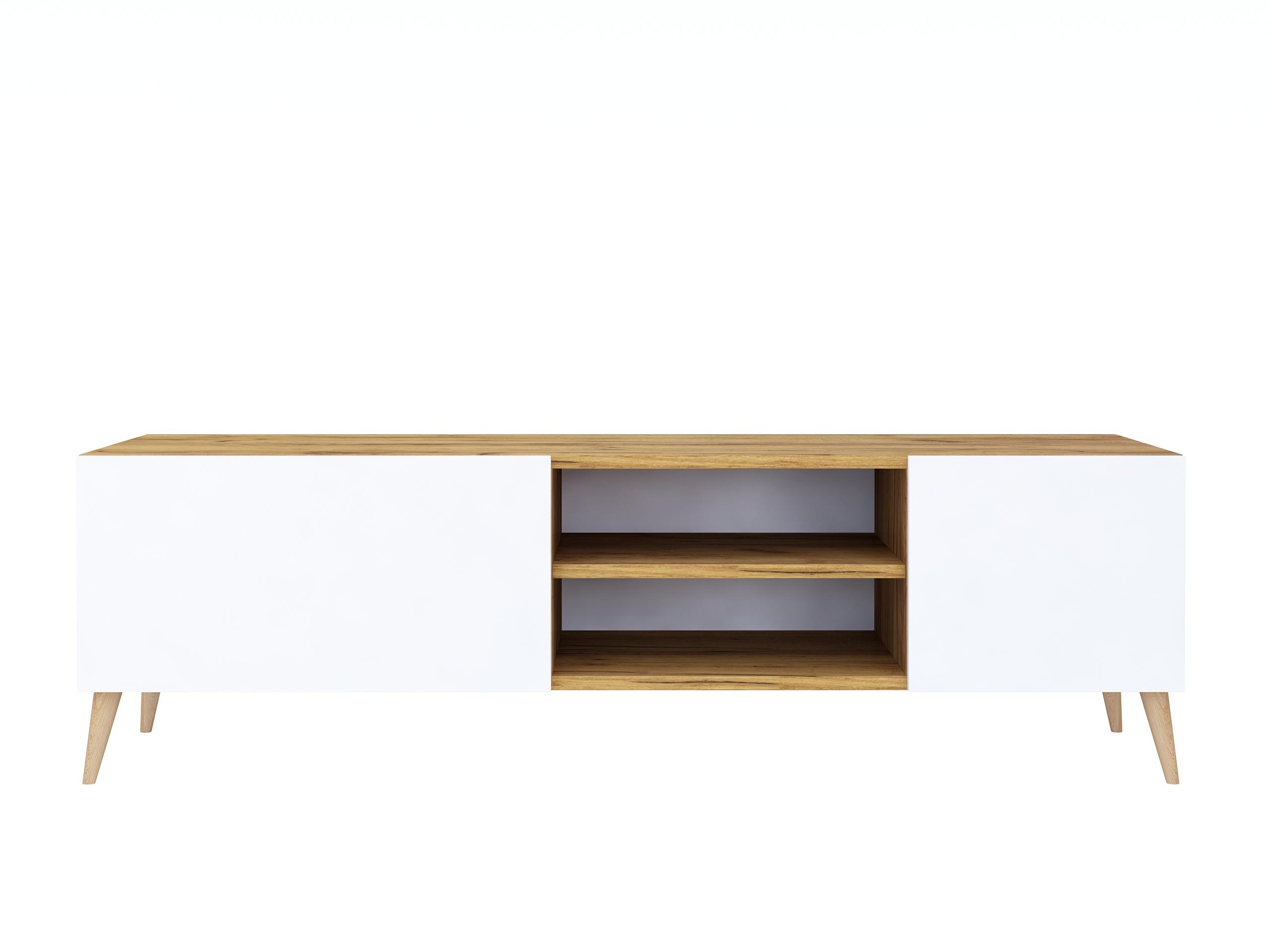 dąb craft, dąb złoty, biały mat, drewniane nogi, szafka do salonu na nóżkach