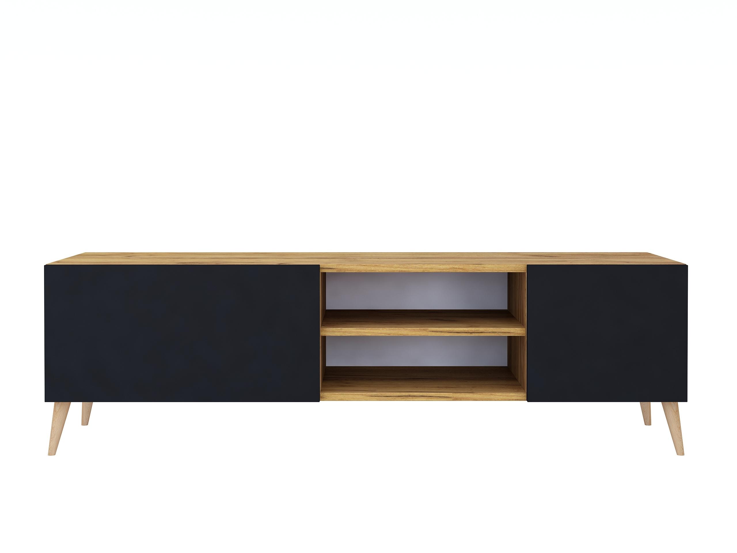 Szafka rtv Scandi Galicja2, 140 cm, dąb złoty i czarny mat