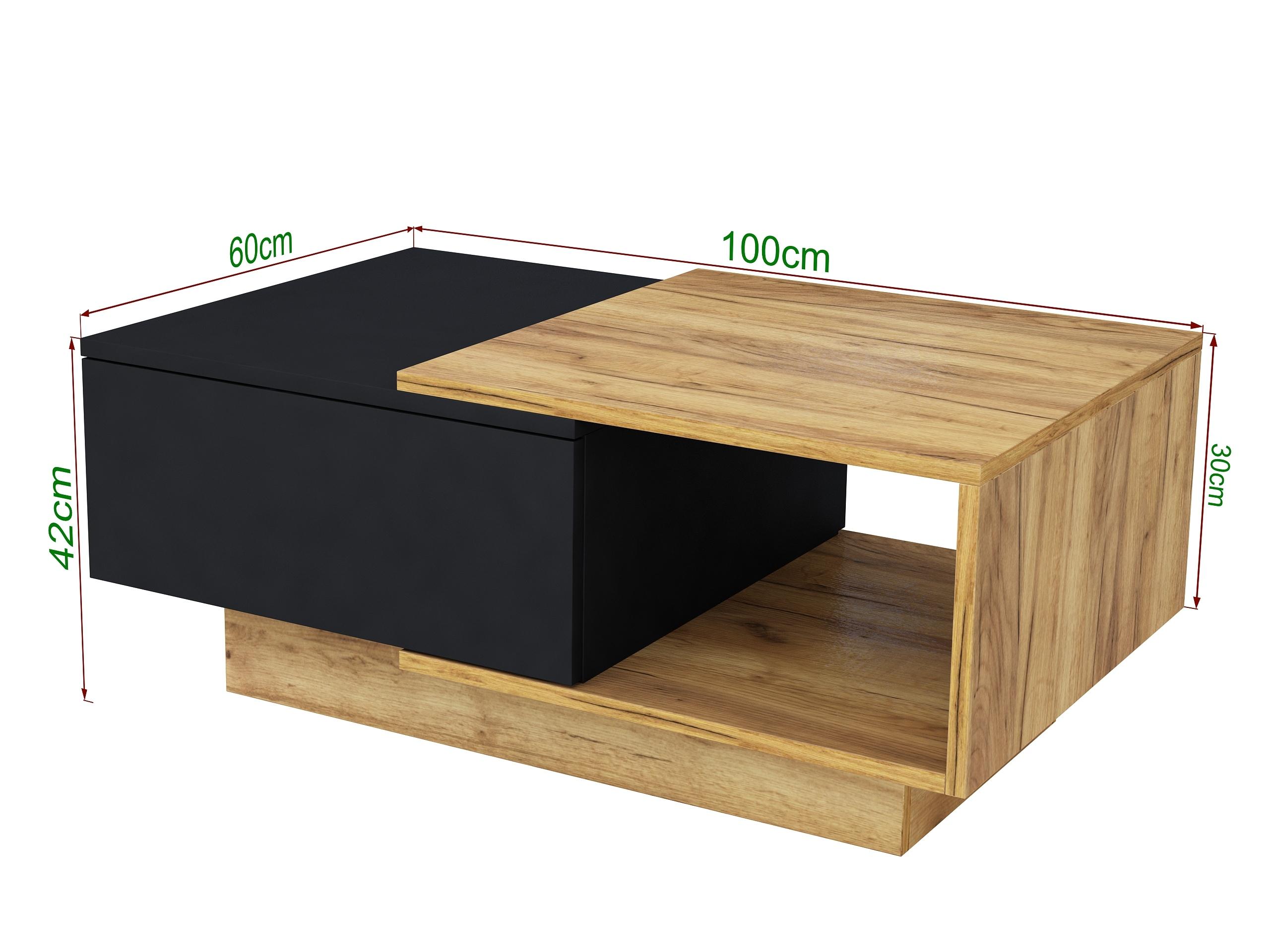 stolik w kolorze drewna, dąb craft, dąb złoty, czarny mat, matowy stolik do salonu, ława do kanapy
