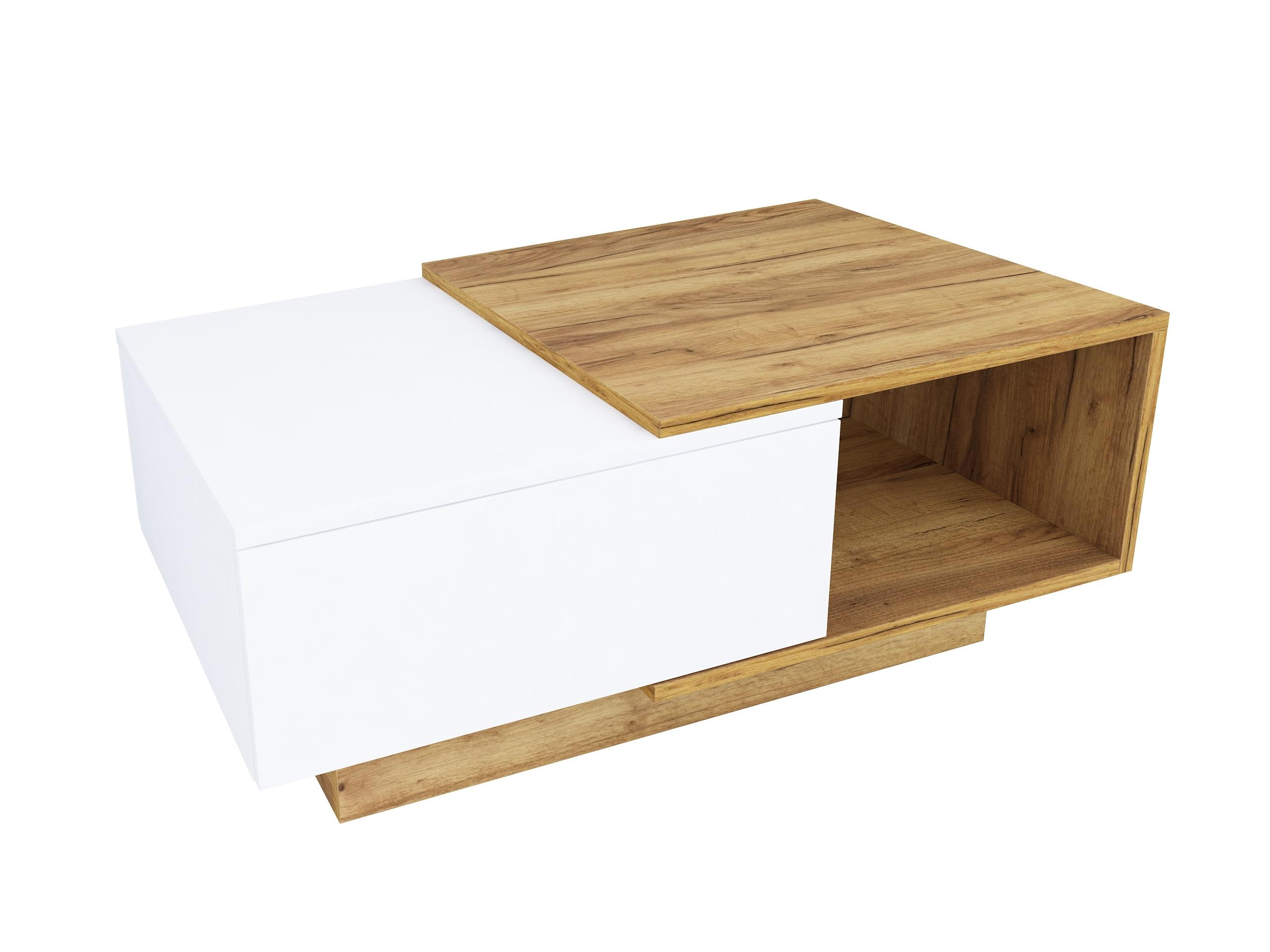 dąb złoty, dąb craft, biały mat, matowy stolik do salonu, matowa ława, stolik do gabinetu, stolik z szafką