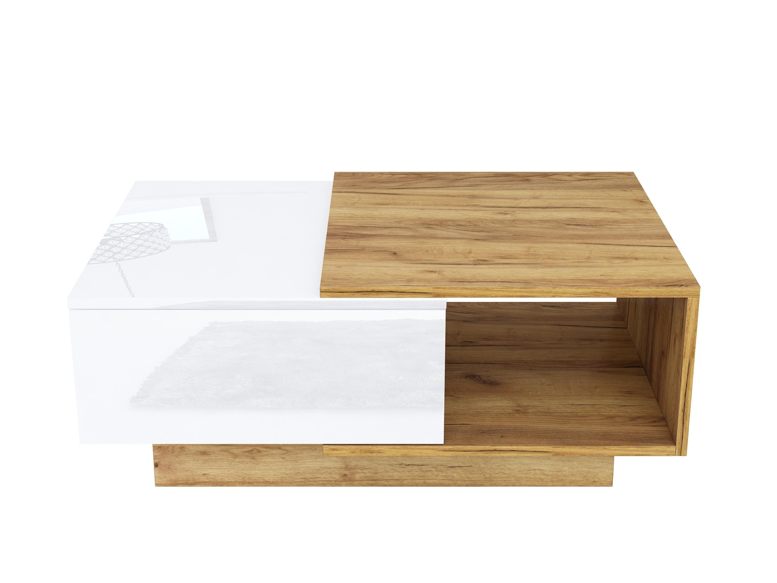 dąb złoty, dąb craft, biały połysk, nowoczesny stolik do salonu, ława, stolik kawowy do kanapy