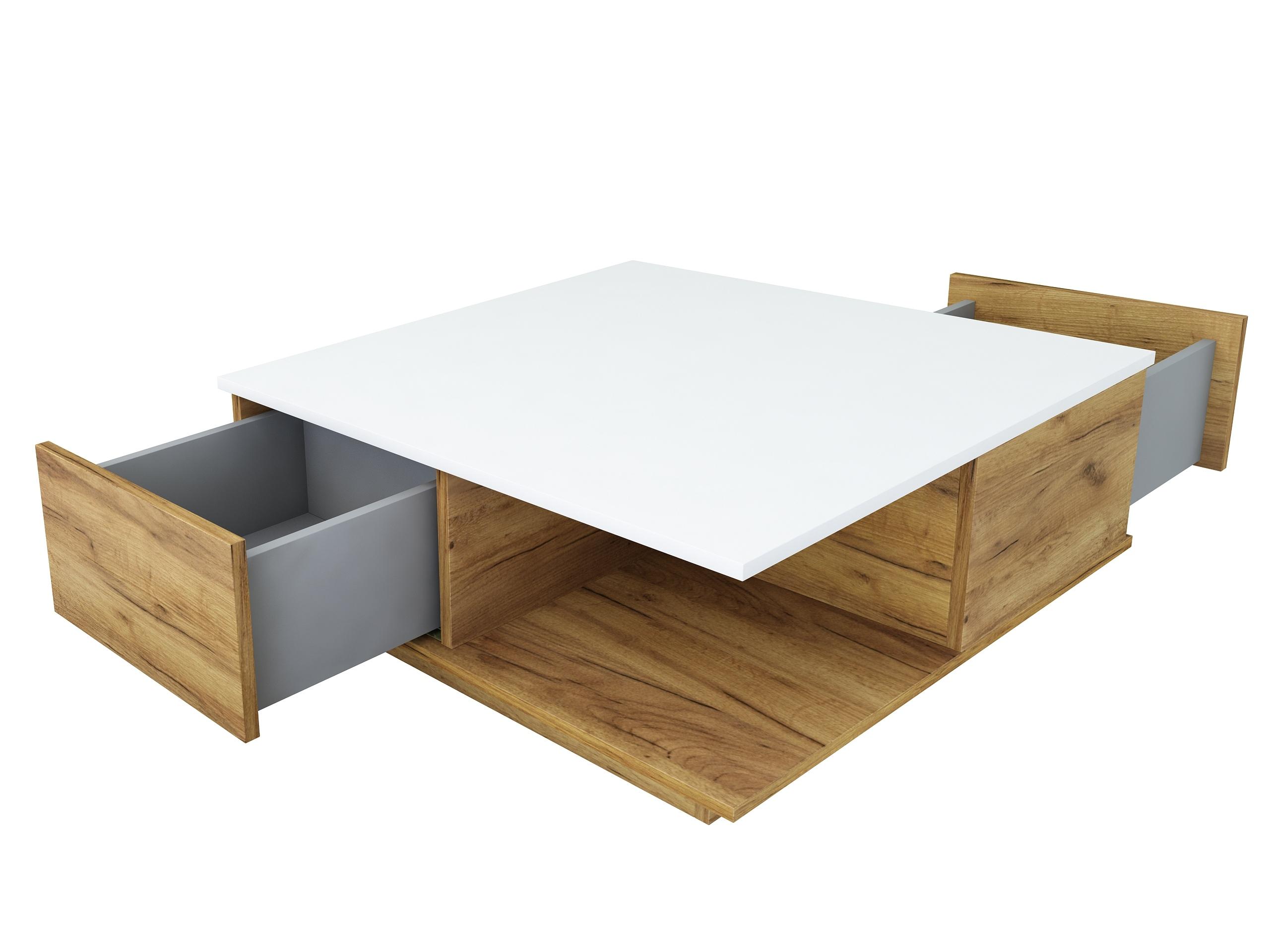 dąb złoty, dąb craft, biały mat, stolik z szufladami, stolik kawowy, ława do salonu