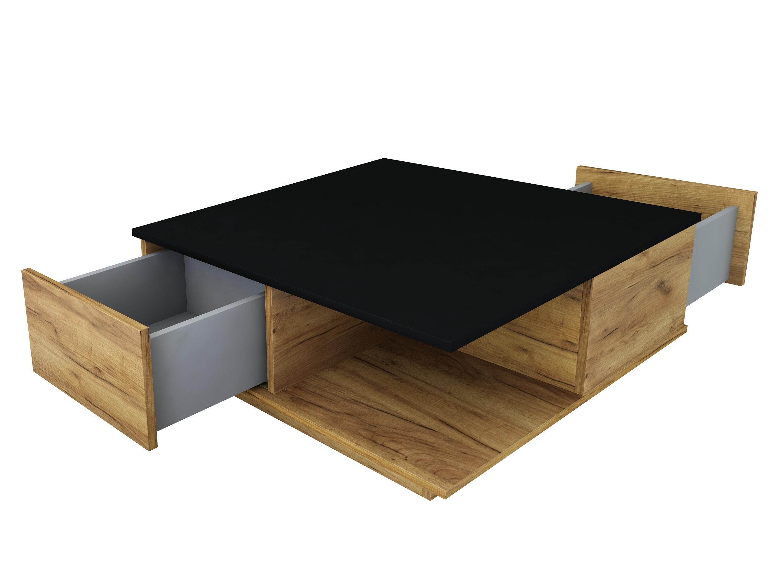 dąb złoty, dąb craft złoty, czarny mat, matowy stolik kawowy, stolik do salonu z szufladami, ława do biura