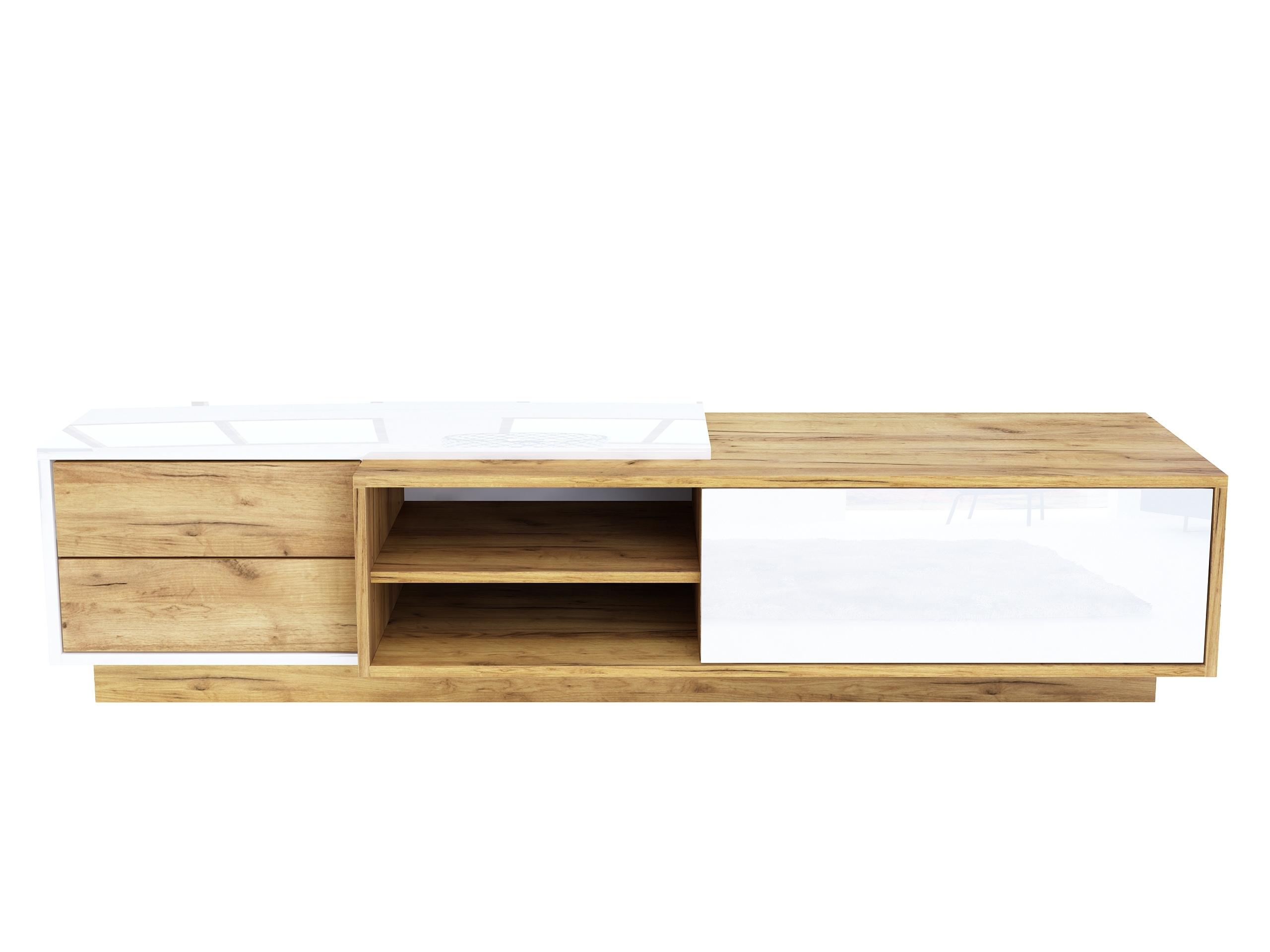 Szafka rtv Diadema 180cm, dąb złoty, biały wysoki połysk