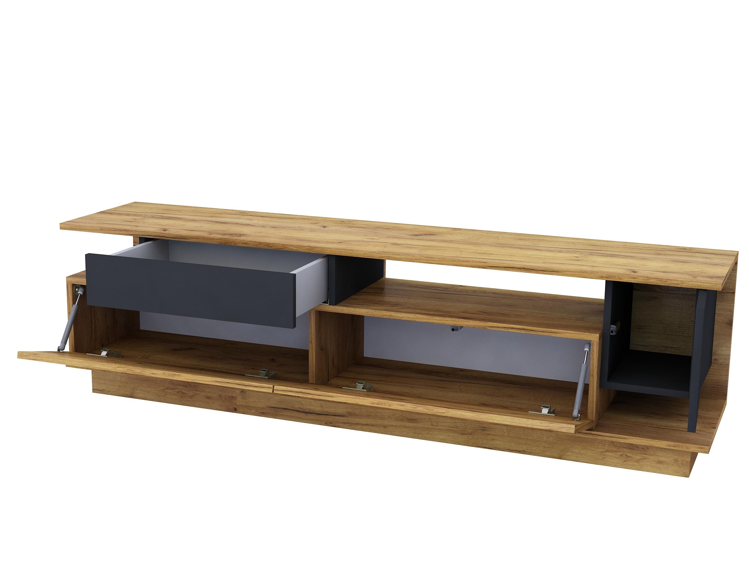 dąb złoty, industrialny, szuflada, mebel pod telewizor, czarny mat, do salony, kolor drewna.